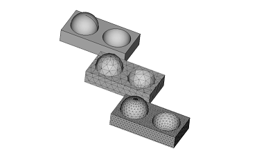 3D model comparing various mesh sizes