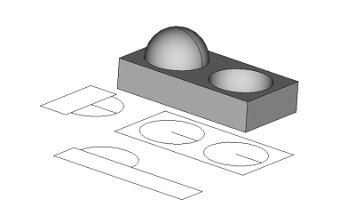Solid model with corresponding plan and elevation views